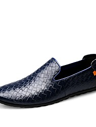 cheap -Men's Shoes Cowhide Leatherette Spring Fall Comfort Loafers & Slip-Ons Split Joint For Casual Blue Brown Black