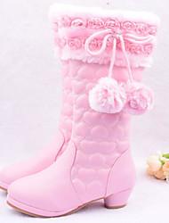 Para Meninas sapatos Couro Ecológico Outono Inverno Botas de Neve Botas Para Casual Vermelho Rosa claro