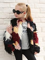 cheap -Girls' Patchwork Jacket & Coat,Wool Rabbit Fur Raccoon Fur Winter Fall Long Sleeve Rainbow