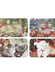 Set of 4 Welcome Floor Mats  Christmas Cute Cat  Printing Bathroom Kitchen Carpets House Doormats for Living Room Anti-Slip Tapete Rug W16 x L24 inch