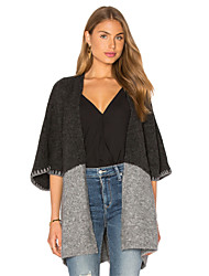 Standard Cardigan Da donna-Per uscire Casual Semplice Monocolore Colletto Mezza manica Cotone Primavera Inverno Medio spessore Media