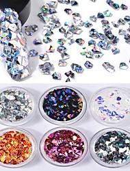 6 farbe 3d diamant feste form laser bunte pailletten 1 gr / schachtel