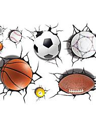 voordelige -Vormen Sport 3D Muurstickers 3D Muurstickers 3D,Vinyl Materiaal Huisdecoratie Muursticker