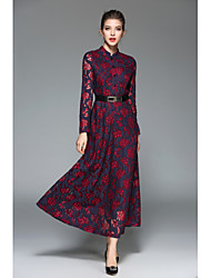 Women's Party Going out Sexy Vintage Sheath Swing Dress,Jacquard Round Neck Maxi Long Sleeves Rayon Fall Winter High Rise Micro-elastic