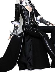 Outfits Gothic Lolita Suits Punk Lolita Dress Cosplay Black Solid Poet Coat Vest Pants A Pair of Gloves PU Leather