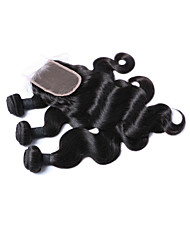 Human Hair Brazilian One Pack Solution Body Wave Hair Extensions 4 Pieces Black
