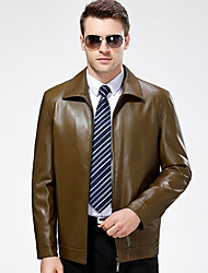 Men's Casual/Daily Vintage Fall Winter Leather Jackets,Solid Shirt Collar Long Sleeve Regular Lambskin