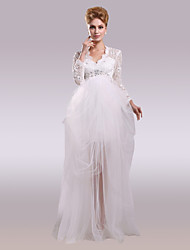 Ball Gown V-neck Asymmetrical Lace Satin Tulle Wedding Dress with Beading Lace by LAN TING BRIDE®