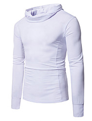 Men's Daily Going out Casual Spring Fall T-shirt,Solid Hooded Long Sleeves Cotton Medium