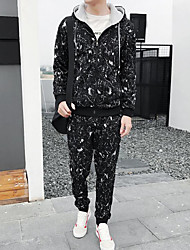 Men's Daily Plus Size Casual Hoodie Print Hooded Micro-elastic Cotton Long Sleeve Winter Fall