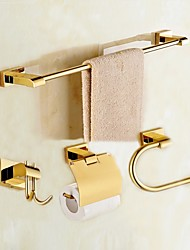 cheap -Bathroom Accessory Set High Quality Classical Modern Style Brass 4pcs - Hotel bath tower ring tower bar Robe Hook Toilet Paper Holders