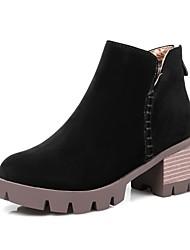 Недорогие -Жен. Обувь Бархатистая отделка Зима Осень Удобная обувь Ботинки Круглый носок Молнии для на открытом воздухе Офис и карьера Черный Серый