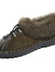Women's Shoes PU Fall Winter Light Soles Flats Flat Heel Round Toe Lace-up For Casual Khaki Green Black