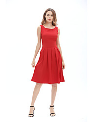 cheap -Women's Club Sexy Skater Dress,Solid Strap Knee-length Sleeveless Silk Summer High Rise Micro-elastic Sheer