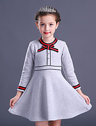 cheap -Girl's Solid Dress, Cotton Rayon Polyester Winter Fall Long Sleeves Vintage Party Elegant & Luxurious Red Light gray