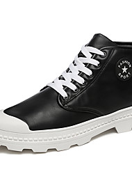 cheap -Men's Shoes Leatherette Spring Fall Comfort Boots Booties/Ankle Boots Split Joint For Casual Red Black White