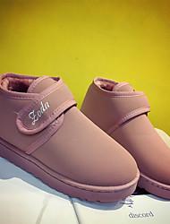 Feminino Sapatos Flanelado Inverno Conforto Coturnos Botas Creepers Ponta Redonda Velcro Para Casual Verde Tropa Rosa claro Khaki