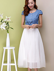 cheap -Women's Daily Casual Denim Dress,Solid Round Neck Midi Short Sleeves Cotton Summer Mid Rise Micro-elastic Opaque