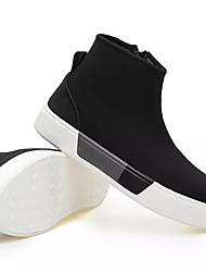 baratos -Homens sapatos Tecido Primavera Outono Coturnos Botas Ziper para Casual Preto Vermelho