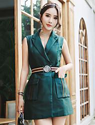 cheap -Women's Daily Work Sheath Dress,Solid V Neck Above Knee Sleeveless Silk Cotton Summer High Rise Micro-elastic Thin
