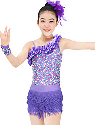 cheap -Jazz Outfits Women's Children's Performance Elastic Elastane Sequined Lycra Pleated Tassel(s) Paillette Sleeveless Natural Skirts Leotard