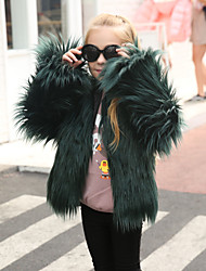 Girls' Solid Jacket & Coat,Wool Rabbit Fur Raccoon Fur Winter Fall Long Sleeve White Black Blushing Pink Gray Khaki