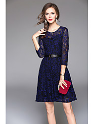 Women's Party Going out Sexy Vintage A Line Sheath Lace Dress,Solid Round Neck Above Knee 3/4 Length Sleeves Rayon Fall Winter High Rise