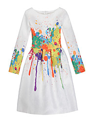 Girl's Daily Holiday Print Dress,Cotton Polyester All Seasons Long Sleeve Cute Casual White