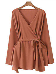 cheap -Women's Daily Plus Size Regular Cardigan,Solid Cowl Neck Long Sleeves Cotton Acrylic All Seasons Medium Micro-elastic