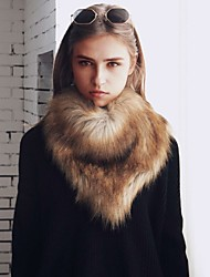 Women's Faux Fur Rectangle Infinity Scarf Solid Fall Winter