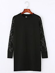cheap -Women's Going out Sexy Lace Little Black Tunic Dress,Solid Crew Neck Above Knee Long Sleeves Cotton Fall Mid Rise Micro-elastic Thin