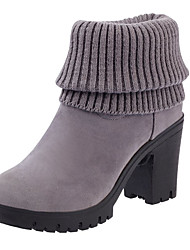 cheap -Women's Shoes Knit Nubuck leather Spring Fall Comfort Boots Chunky Heel Pointed Toe Booties/Ankle Boots Split Joint For Casual Dress Gray