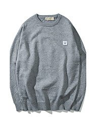cheap -Men's Daily Going out Short Pullover,Solid Round Neck Long Sleeves Wool Others Spring Fall Medium Micro-elastic