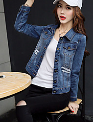 cheap -Women's Going out Chinoiserie Spring Fall Denim Jacket,Solid Shirt Collar Long Sleeve Short Cotton Polyester Embroidered
