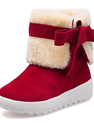 cheap -Women's Shoes Fur Velvet Fall Winter Fluff Lining Comfort Snow Boots Boots Creepers Round Toe Booties/Ankle Boots Bowknot For Casual Dress