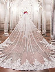 cheap -One-tier Wedding Veil Cathedral Veils With Applique Bead Lace Tulle
