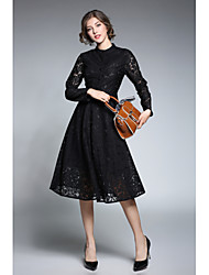 Women's Party Going out Sexy Vintage Sheath Lace Dress,Solid Stand Midi Long Sleeves Rayon Fall Winter High Rise Micro-elastic Medium