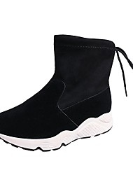 Women's Shoes Suede Fall Fashion Boots Boots Flat Heel Round Toe Lace-up For Casual Brown Black
