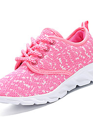cheap -Girls' Shoes Knit Fabric Net Fall Winter Vulcanized Shoes Comfort Athletic Shoes Running Shoes Lace-up For Athletic Casual Blushing Pink