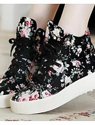 baratos -Mulheres Sapatos Malha Respirável / Couro Ecológico Primavera / Outono Conforto Tênis Salto Robusto Botas Curtas / Ankle Branco / Preto