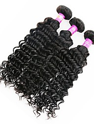 economico -Peruviano Molto ondulata Capello vergine Ciocche a onde capelli veri 3 pacchetti Tessiture capelli umani Nero Naturale Estensioni dei capelli umani