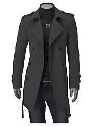 cheap -Men's Daily Work Street chic Winter Fall Coat,Solid Notch Lapel Long Sleeve Regular Cotton Polyester