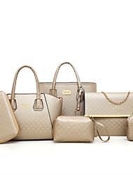 economico -Donna Sacchetti PU (Poliuretano) sacchetto regola Set di borsa da 6 pezzi Cerniera per Casual Per tutte le stagioni Blu Oro Nero Rosso