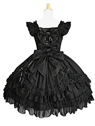 One-Piece/Dress Lolita Cosplay Lolita Dress Black Solid Butterfly Sleeveless Dress For Cotton