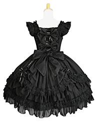 Einteilig/Kleid Lolita Cosplay Lolita Kleider Schwarz einfarbig Schmetterling Ärmellos Kleid Zum Baumwolle