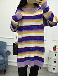 Feminino Solto Vestido,Casual Listrado Decote Redondo Acima do Joelho Manga Longa Pêlo de Coelho Outono Cintura Alta Com Stretch Média