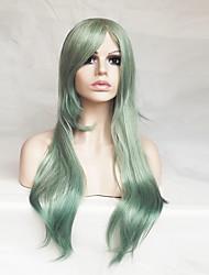 Недорогие -Парики из искусственных волос / Маскарадные парики Прямой Ассиметричная стрижка / С чёлкой Искусственные волосы Природные волосы Зеленый