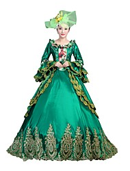 cheap -Victorian Rococo Costume Women's Adults' Masquerade Party Costume Green Vintage Cosplay Satin Long Sleeves Floor Length