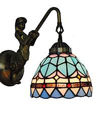 economico -diametro 15cm retro sirena paese tiffany parete luci vetro ombra soggiorno camera da letto lampada