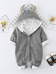 cheap -Baby Kids Solid Color One-Pieces,Cotton Winter Fall Long Sleeve Brown Blushing Pink Gray Khaki